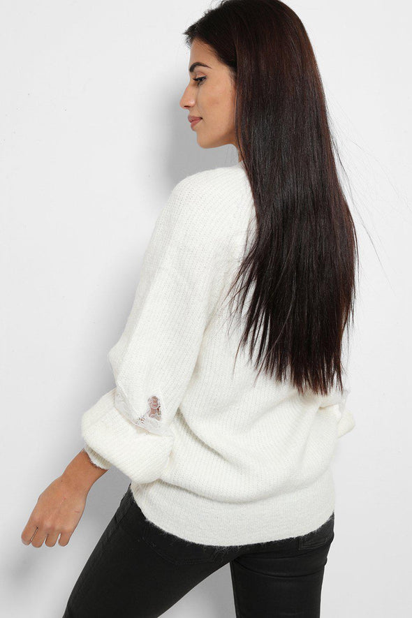 LACE PANEL BALLOON SLEEVES SOFT KNIT WHITE PULLOVER