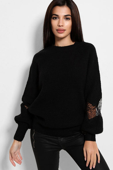LACE PANEL BALLOON SLEEVES SOFT KNIT BLACK PULLOVER