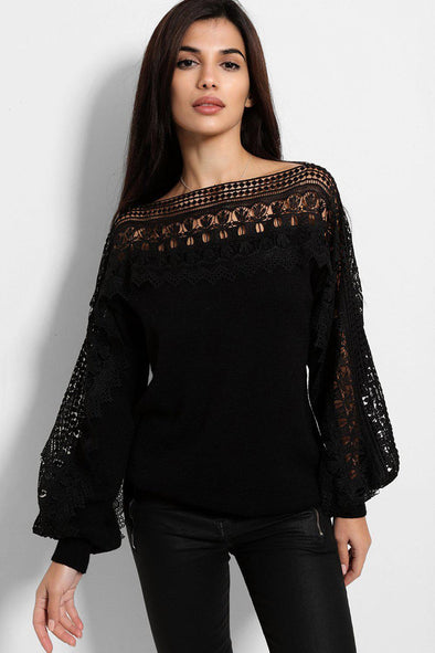 CROCHET LACE PANEL SOFT KNIT STRETCHY BLACK PULLOVER