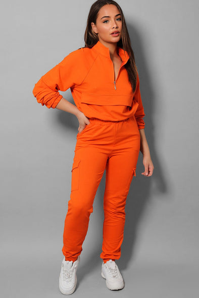 ORANGE DRAWSTRING ZIPPER TOP AND CARGO JOGGERS TRACKSUIT SET