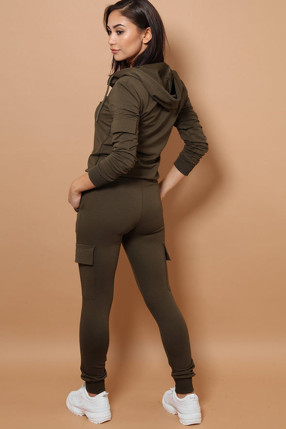 HOODED ZIPPER TOP & COMBAT JOGGERS KHAKI TRACKSUIT SET