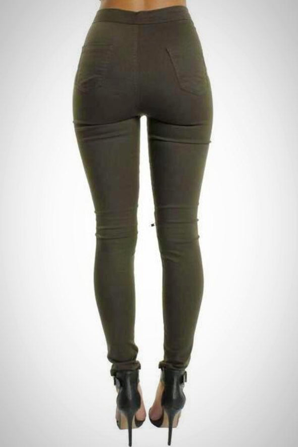 Khaki High Waisted Ripped Knee Skinny Jeans Jeggings
