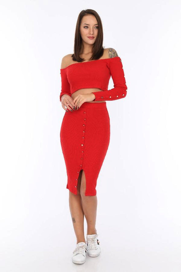 Button Down Red Ribbed Off Shoulder Jersey Crop Top with Slit Midi Body-con Skirt Team
