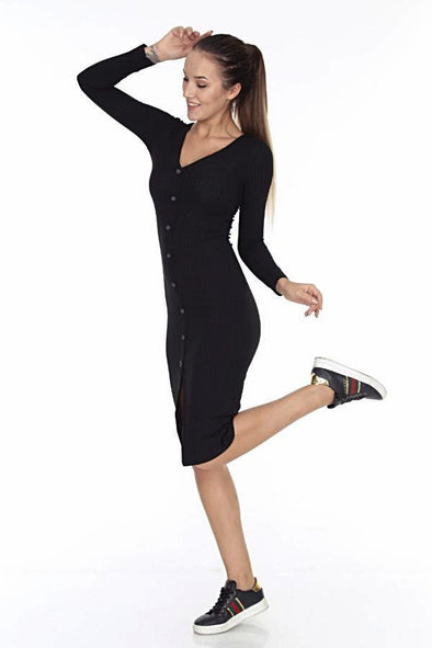 Fine Knit Black Ribbed Jersey with Buttons and Front Slit Midi Body-con Dress
