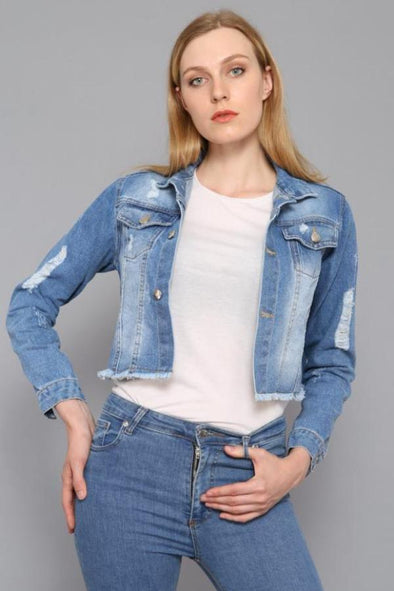 Stonewashed Raw Cut Hem Cropped Slouch Blue Denim Jacket