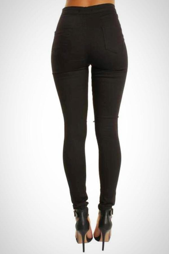 Black High Waisted Ripped Knee Skinny Stretchy Jean Jeggings