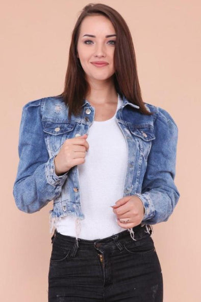 Raw Cut Hem Extreme Ripped Cropped Ruched Blue Faded Denim Jacket