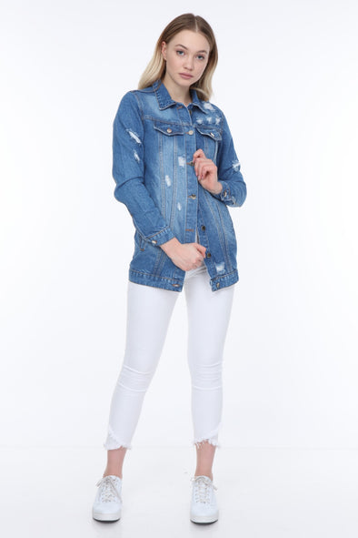 LONGLINE DISTRESSED DENIM JACKET WITH SEQUIN WINGS EMBELLISHMENT