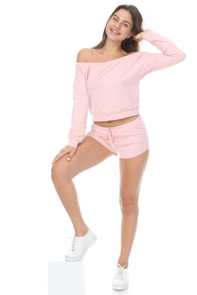 PINK OFF SHOULDER LONG SLEEVE TOP WITH DRAWSTRING HOT PANTS MATCHING SET