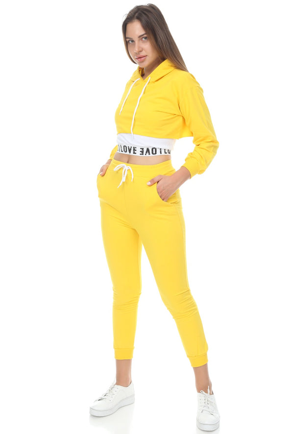 LOVE LOGO HOODIE CROPPED TOP JOGGERS 3 PIECE YELLOW LOUNGE SET