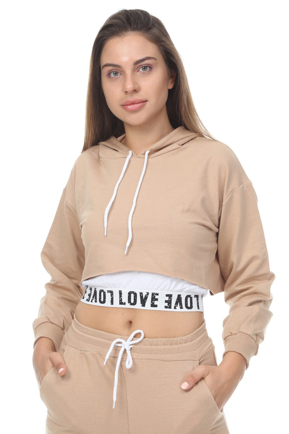 LOVE LOGO HOODIE CROPPED TOP JOGGERS 3 PIECE BEIGE LOUNGE SET