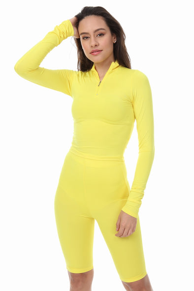 YELLOW HIGH NECK ZIP TOP SHORTS CYCLING MATCHING SET
