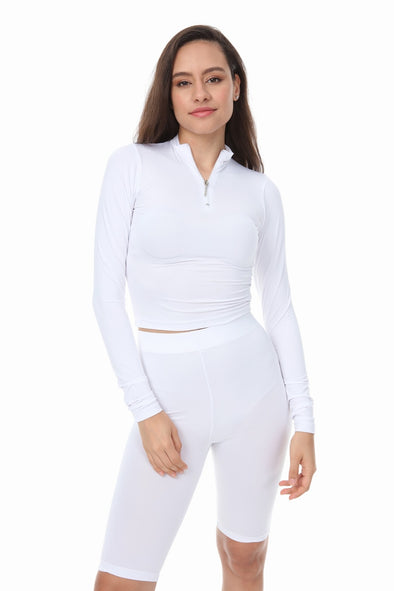 WHITE HIGH NECK ZIP TOP SHORTS CYCLING MATCHING SET