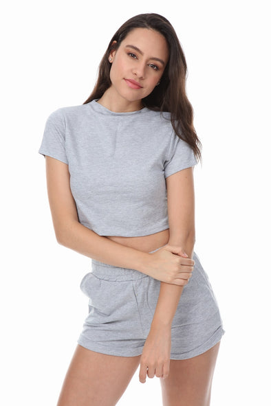 HIGH NECK CROP TOP SHORTS GREY 2 PIECE MATCHING SET