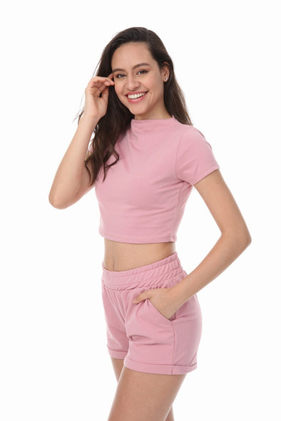 HIGH NECK CROP TOP SHORTS PINK 2 PIECE MATCHING SET