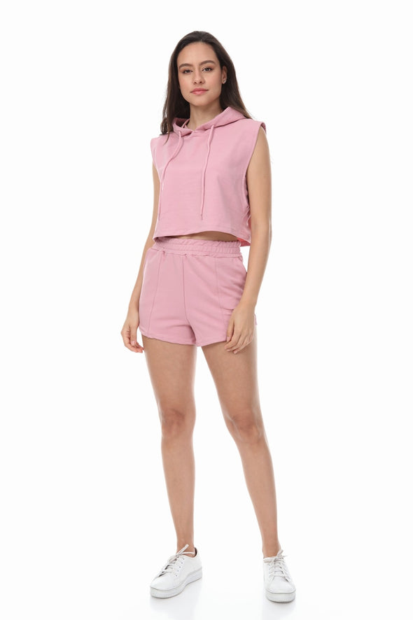 SLEEVELESS HOODIE AND DRAWSTRING SHORTS PINK LOUNGEWEAR SET