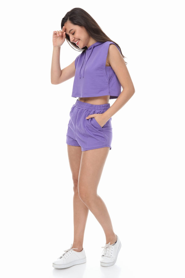 SLEEVELESS HOODIE AND DRAWSTRING SHORTS PURPLE LOUNGEWEAR SET