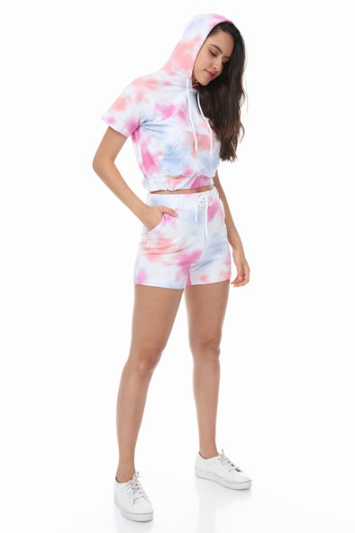 COLOURED TIE DYE HOODIE AND DRAWSTRING SHORTS LOUNGEWEAR SET