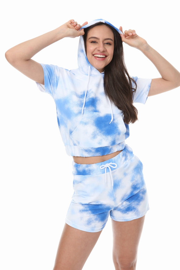 BLUE TIE DYE HOODIE AND DRAWSTRING SHORTS LOUNGEWEAR SET