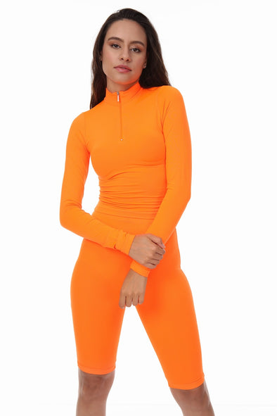 NEON ORANGE HIGH NECK ZIP TOP SHORTS CYCLING MATCHING SET