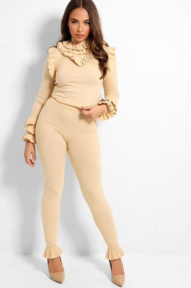 FRILL MOCK NECK SWEATER & LEGGINGS BEIGE LEISURE SUIT