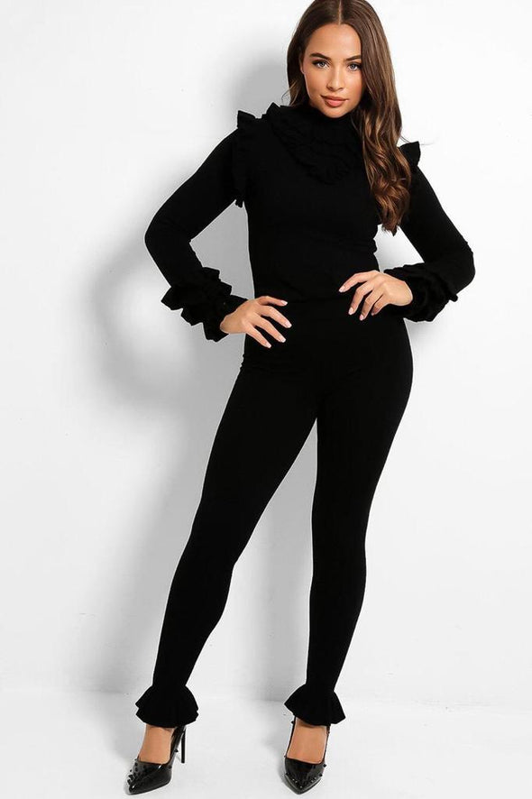 FRILL MOCK NECK SWEATER & LEGGINGS BLACK LEISURE SUIT