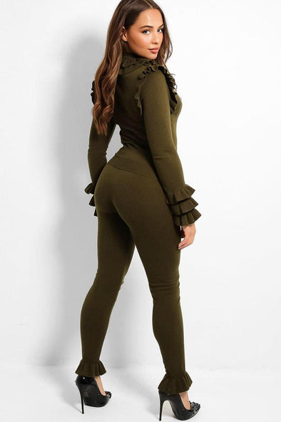 FRILL MOCK NECK SWEATER & LEGGINGS KHAKI LEISURE SUIT