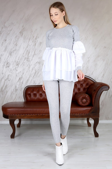 CONTRAST RIBBED LAYERED CORSET TOP & LEGGINGS GREY LEISURE SUIT