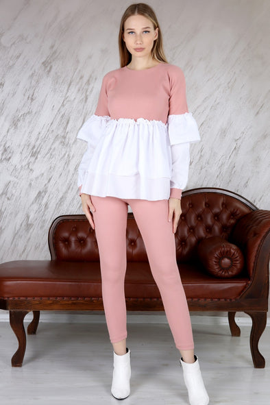 CONTRAST RIBBED LAYERED CORSET TOP & LEGGINGS PINK LEISURE SUIT