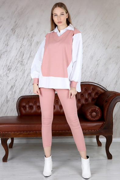 INSERT SHIRT CLASSIC OVERSIZED RIBBED TOP & LEGGINGS PINK LEISURE SUIT