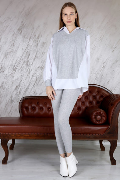 INSERT SHIRT CLASSIC OVERSIZED RIBBED TOP & LEGGINGS GREY LEISURE SUIT
