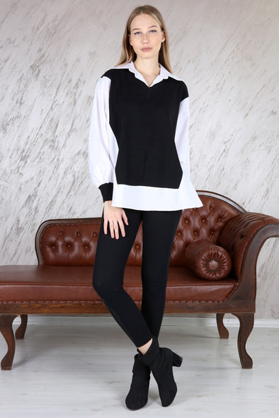 INSERT SHIRT CLASSIC OVERSIZED RIBBED TOP & LEGGINGS BLACK LEISURE SUIT