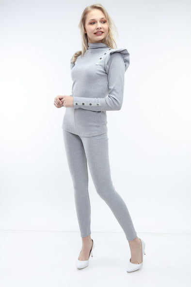 FRILL BUTTON DOWN TOP & LEGGINGS GREY RIBBED LEISURE SUIT