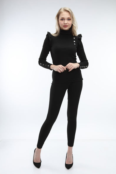 FRILL BUTTON DOWN TOP & LEGGINGS BLACK RIBBED LEISURE SUIT