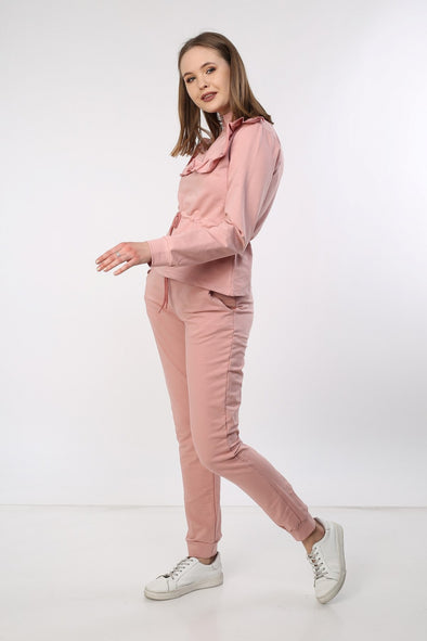 PINK FRILL TIE UP ZIP TOP & JOGGER LOUNGEWEAR SET