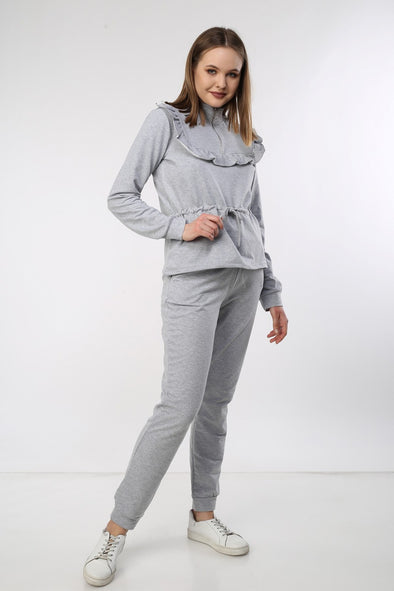 GREY FRILL TIE UP ZIP TOP & JOGGER LOUNGEWEAR SET