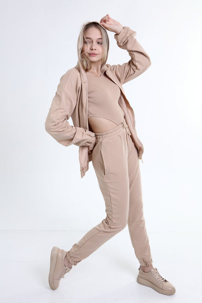 SEXY 3 PIECE OVERSIZED HOODIE WITH BODYSUIT&JOGGER BEIGE LOUNGEWEAR SET
