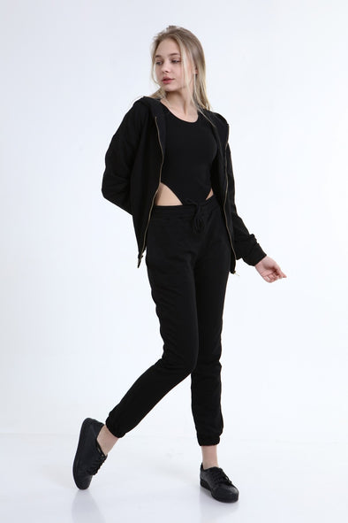 SEXY 3 PIECE OVERSIZED HOODIE WITH BODYSUIT&JOGGER BLACK LOUNGEWEAR SET