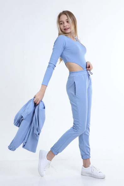 SEXY 3 PIECE OVERSIZED HOODIE WITH BODYSUIT&JOGGER BLUE LOUNGEWEAR SET