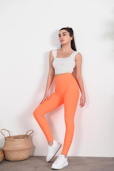 WAFFLE HIGH WAISTED NEON ORANGE ACTIVEWEAR LEGGINGS
