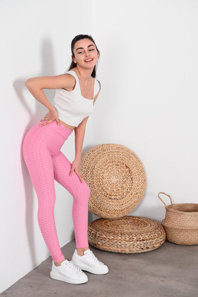 WAFFLE HIGH WAISTED BABY PINK ACTIVEWEAR LEGGINGS