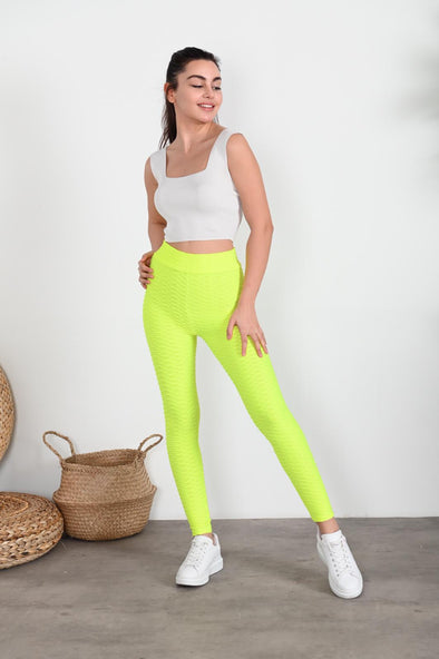 WAFFLE HIGH WAISTED NEON YELLOW ACTIVEWEAR LEGGINGS