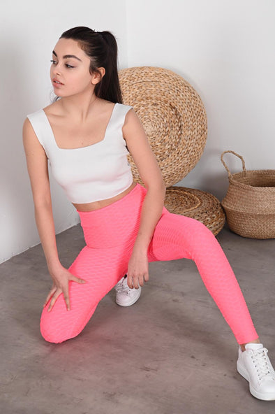 WAFFLE HIGH WAISTED HOT PINK ACTIVEWEAR LEGGINGS