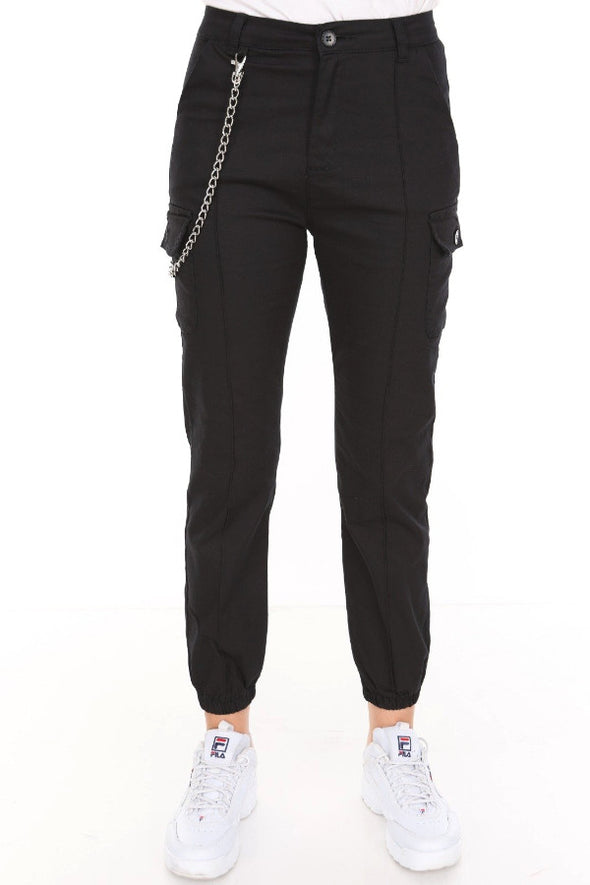Chain Detail Slim Fit Stretchy Black Cargo Trousers