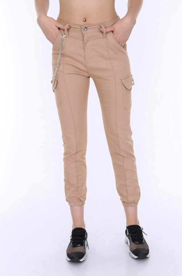 Chain Detail Slim Fit Stretchy Beige Cargo Trousers
