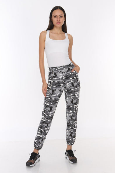 White Camouflage Chain Detail Soft Jersey Stretchy Cargo Trousers
