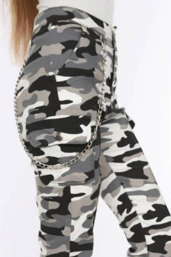 Chain Detail Slim White Camouflage Cargo Trousers