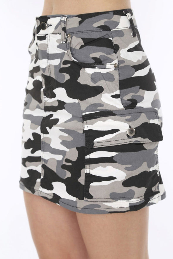 White Camouflage High Waisted Combat Pockets Must Have Mini Skirt