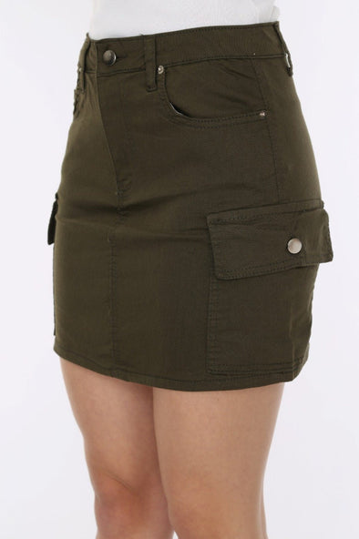 Khaki High Waisted Combat Pockets Must Have Mini Skirt