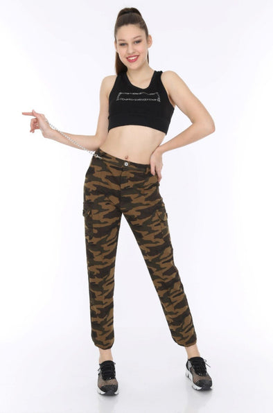 Dark Camouflage Chain Detail Soft Jersey Stretchy Cargo Trousers